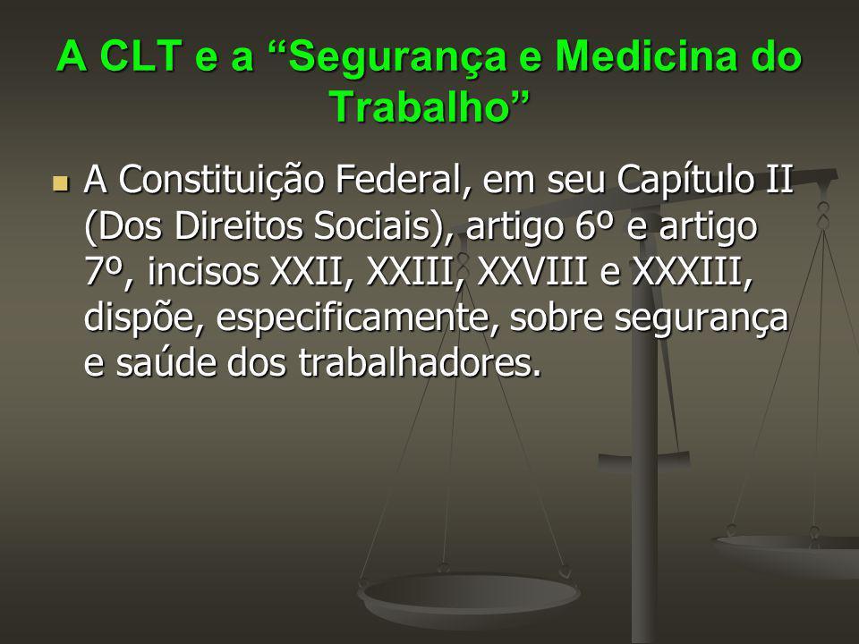 """A CLT e a """"Segurança e Medicina do Trabalho"""" A Constituição Federal, em seu Capítulo II (Dos Direitos Sociais), artigo 6º e artigo 7º, incisos XXII, X"""