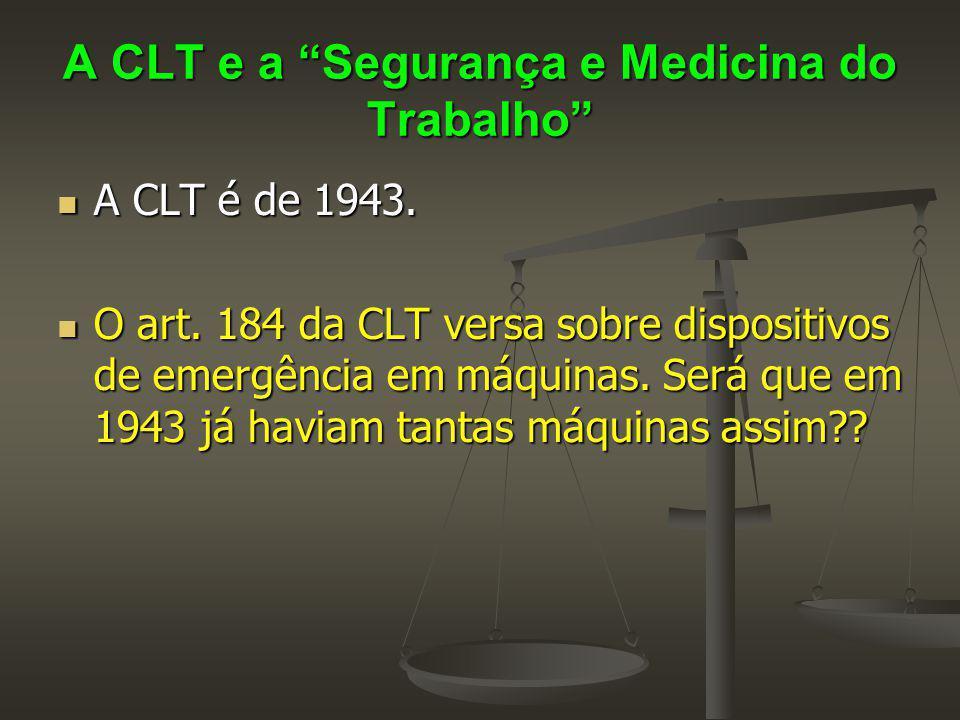 """A CLT e a """"Segurança e Medicina do Trabalho"""" A CLT é de 1943. A CLT é de 1943. O art. 184 da CLT versa sobre dispositivos de emergência em máquinas. S"""