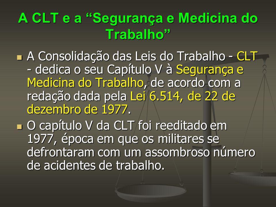 """A CLT e a """"Segurança e Medicina do Trabalho"""" A Consolidação das Leis do Trabalho - CLT - dedica o seu Capítulo V à Segurança e Medicina do Trabalho, d"""