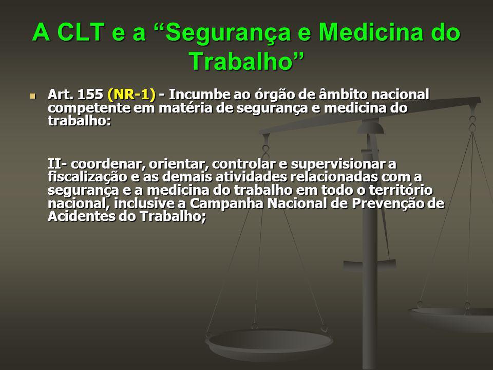"""A CLT e a """"Segurança e Medicina do Trabalho"""" Art. 155 (NR-1) - Incumbe ao órgão de âmbito nacional competente em matéria de segurança e medicina do tr"""