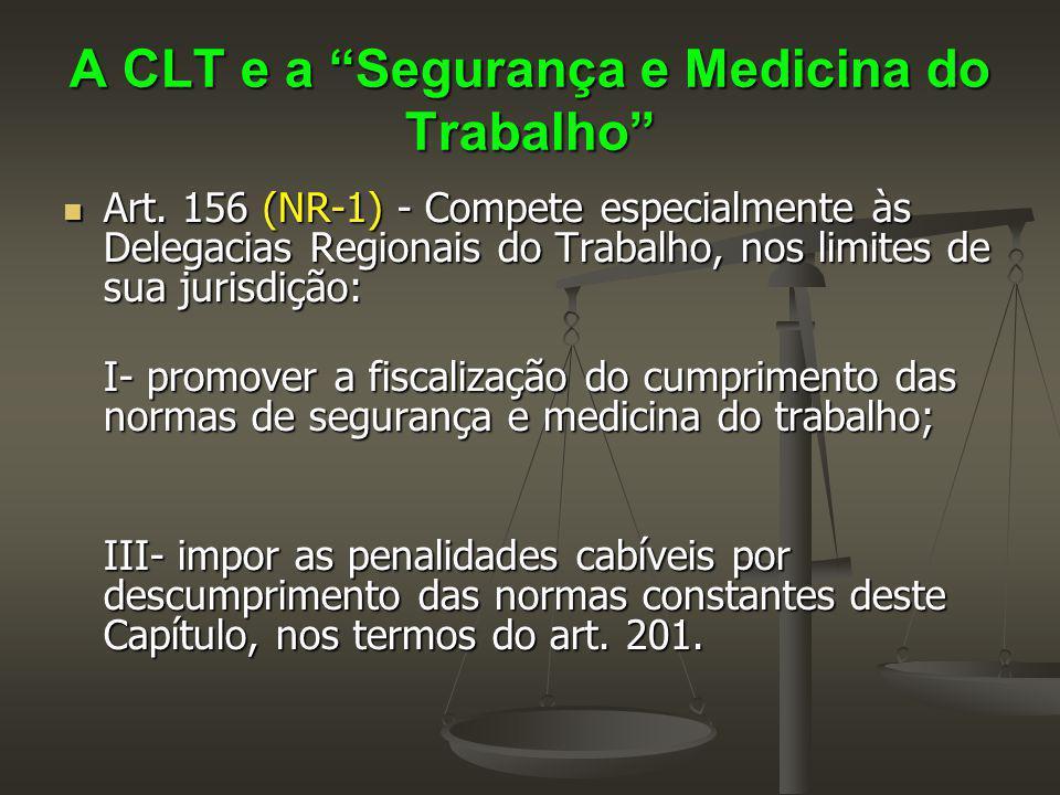 """A CLT e a """"Segurança e Medicina do Trabalho"""" Art. 156 (NR-1) - Compete especialmente às Delegacias Regionais do Trabalho, nos limites de sua jurisdiçã"""