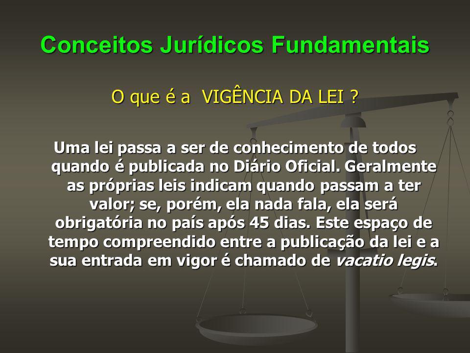 Conceitos Jurídicos Fundamentais O que é a VIGÊNCIA DA LEI ? Uma lei passa a ser de conhecimento de todos quando é publicada no Diário Oficial. Geralm