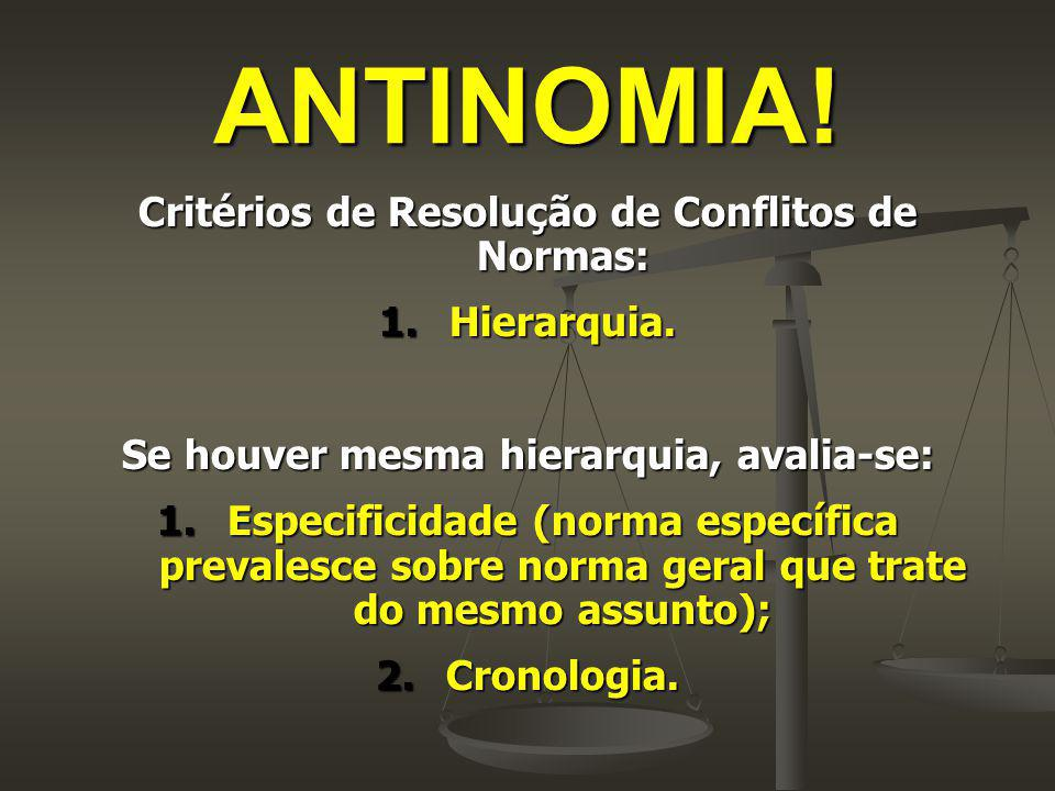 ANTINOMIA.Critérios de Resolução de Conflitos de Normas: 1.Hierarquia.