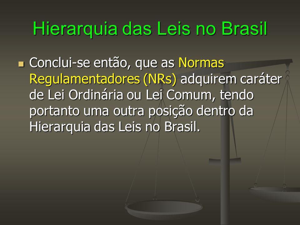 Hierarquia das Leis no Brasil Conclui-se então, que as Normas Regulamentadores (NRs) adquirem caráter de Lei Ordinária ou Lei Comum, tendo portanto um
