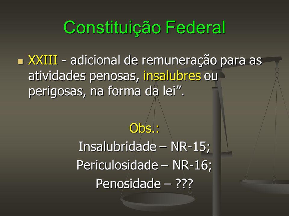 """Constituição Federal XXIII - adicional de remuneração para as atividades penosas, insalubres ou perigosas, na forma da lei"""". XXIII - adicional de remu"""