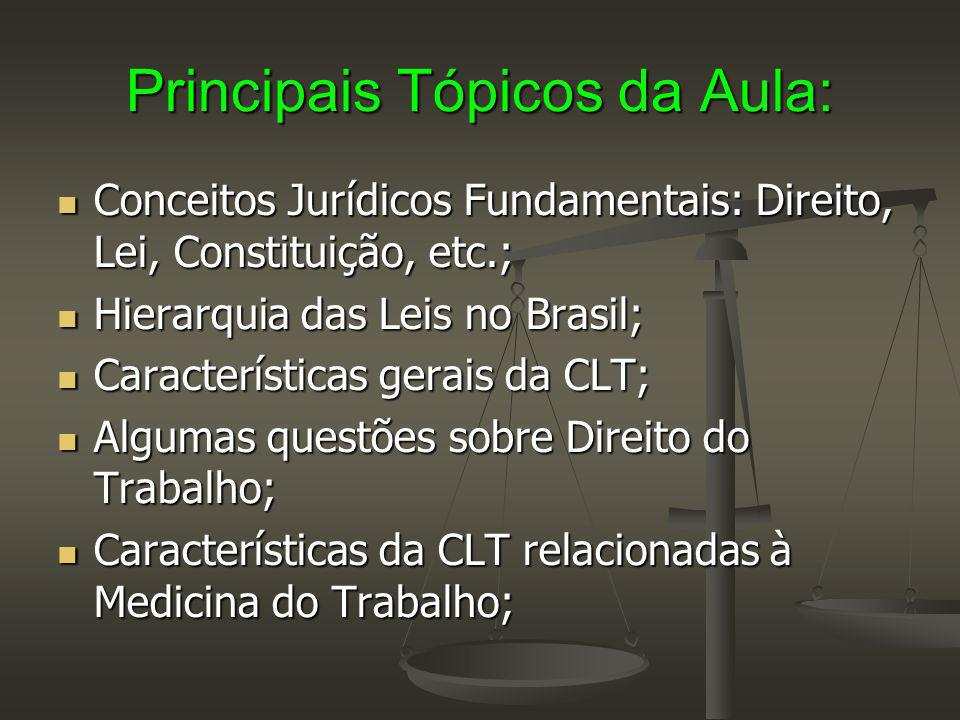 Principais Tópicos da Aula: Conceitos Jurídicos Fundamentais: Direito, Lei, Constituição, etc.; Conceitos Jurídicos Fundamentais: Direito, Lei, Consti