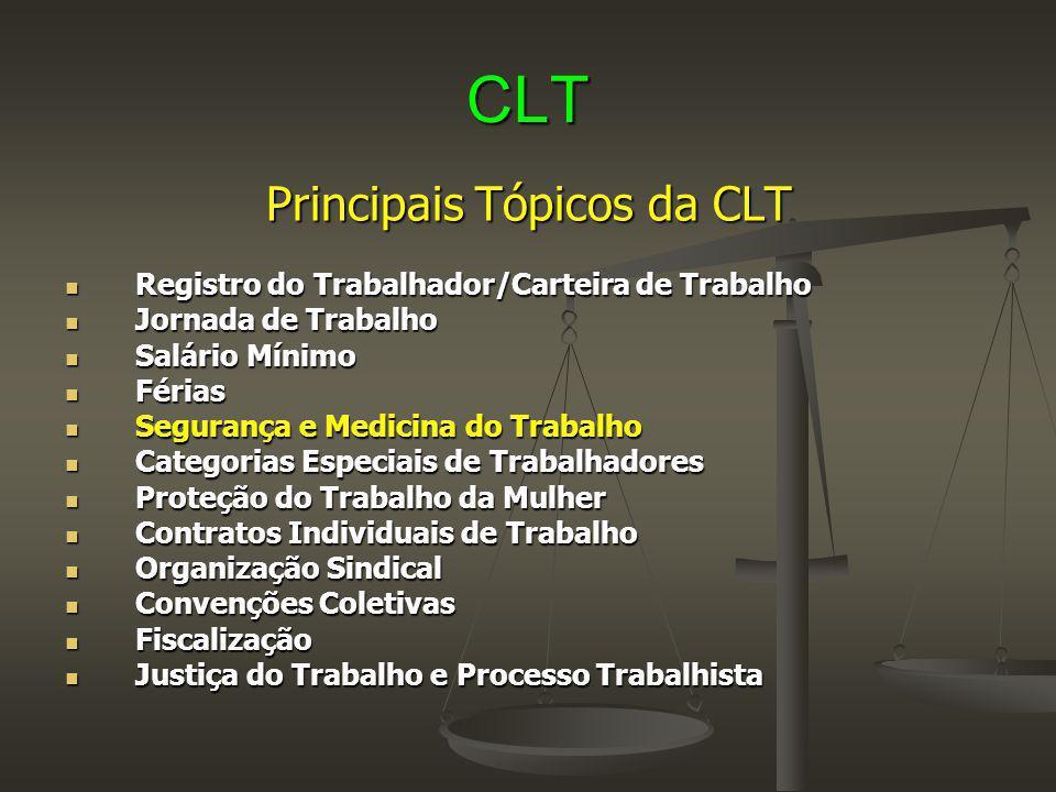 CLT Principais Tópicos da CLT Registro do Trabalhador/Carteira de Trabalho Registro do Trabalhador/Carteira de Trabalho Jornada de Trabalho Jornada de