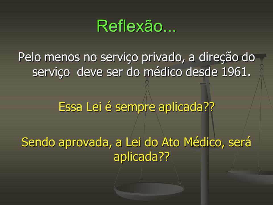 Reflexão... Pelo menos no serviço privado, a direção do serviço deve ser do médico desde 1961. Essa Lei é sempre aplicada?? Sendo aprovada, a Lei do A