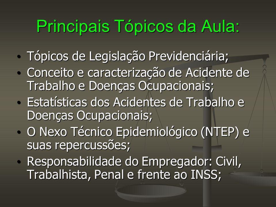 Principais Tópicos da Aula: Tópicos de Legislação Previdenciária; Tópicos de Legislação Previdenciária; Conceito e caracterização de Acidente de Traba