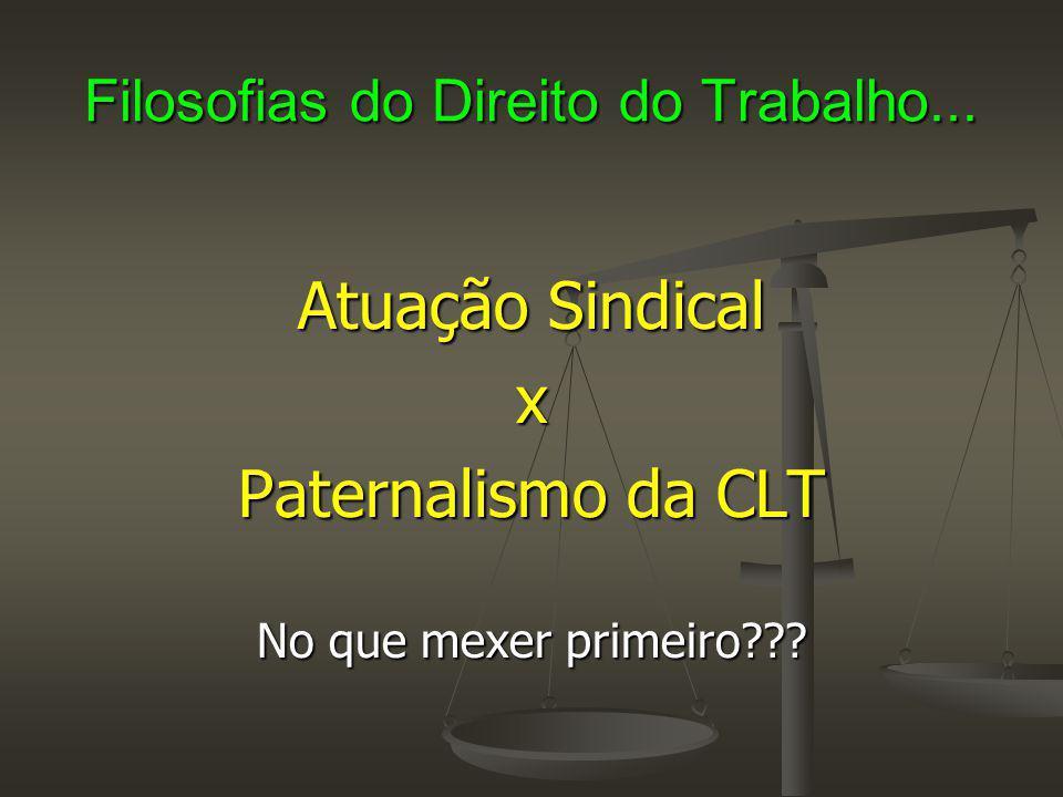 Filosofias do Direito do Trabalho... Atuação Sindical x Paternalismo da CLT No que mexer primeiro???