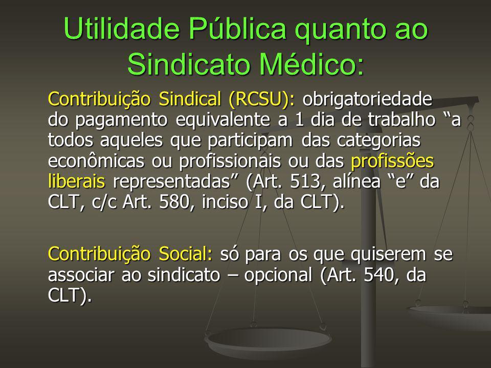 Utilidade Pública quanto ao Sindicato Médico: Contribuição Sindical (RCSU): obrigatoriedade do pagamento equivalente a 1 dia de trabalho a todos aqueles que participam das categorias econômicas ou profissionais ou das profissões liberais representadas (Art.