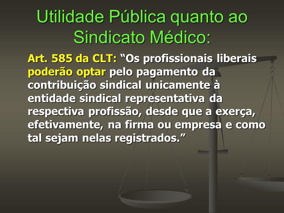"""Utilidade Pública quanto ao Sindicato Médico: Art. 585 da CLT: """"Os profissionais liberais poderão optar pelo pagamento da contribuição sindical unicam"""