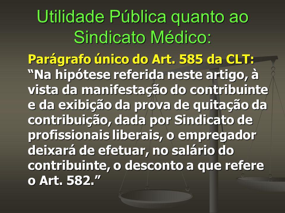 """Utilidade Pública quanto ao Sindicato Médico: Parágrafo único do Art. 585 da CLT: """"Na hipótese referida neste artigo, à vista da manifestação do contr"""