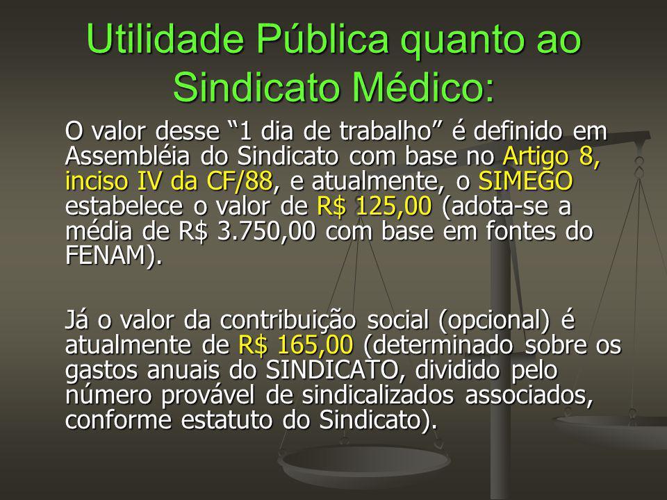 Utilidade Pública quanto ao Sindicato Médico: O valor desse 1 dia de trabalho é definido em Assembléia do Sindicato com base no Artigo 8, inciso IV da CF/88, e atualmente, o SIMEGO estabelece o valor de R$ 125,00 (adota-se a média de R$ 3.750,00 com base em fontes do FENAM).