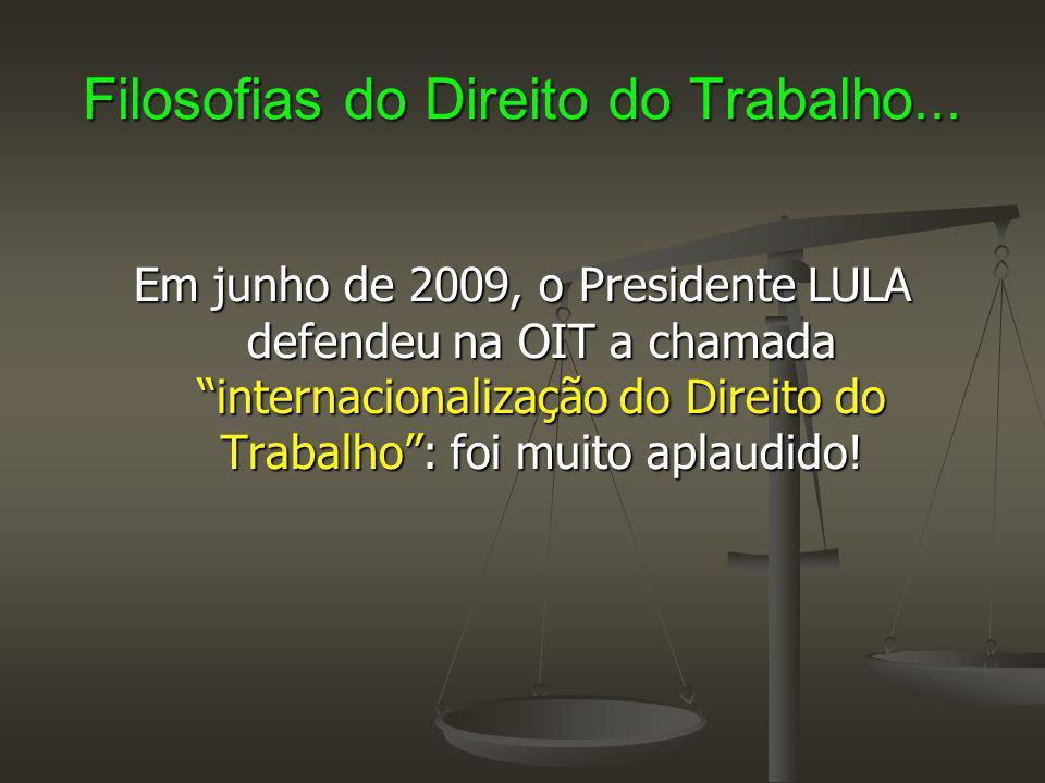 """Filosofias do Direito do Trabalho... Em junho de 2009, o Presidente LULA defendeu na OIT a chamada """"internacionalização do Direito do Trabalho"""": foi m"""