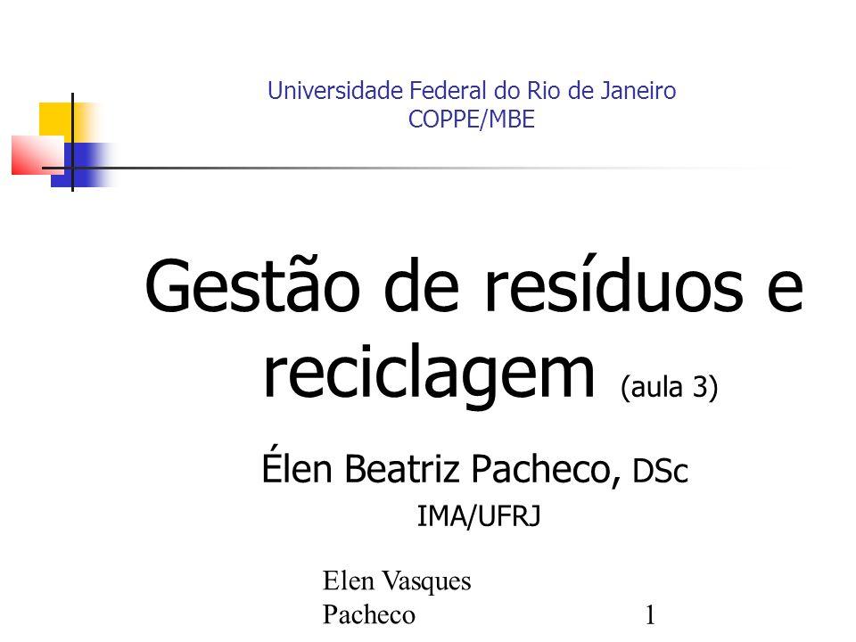 Elen Vasques Pacheco1 Universidade Federal do Rio de Janeiro COPPE/MBE Gestão de resíduos e reciclagem (aula 3) Élen Beatriz Pacheco, DSc IMA/UFRJ