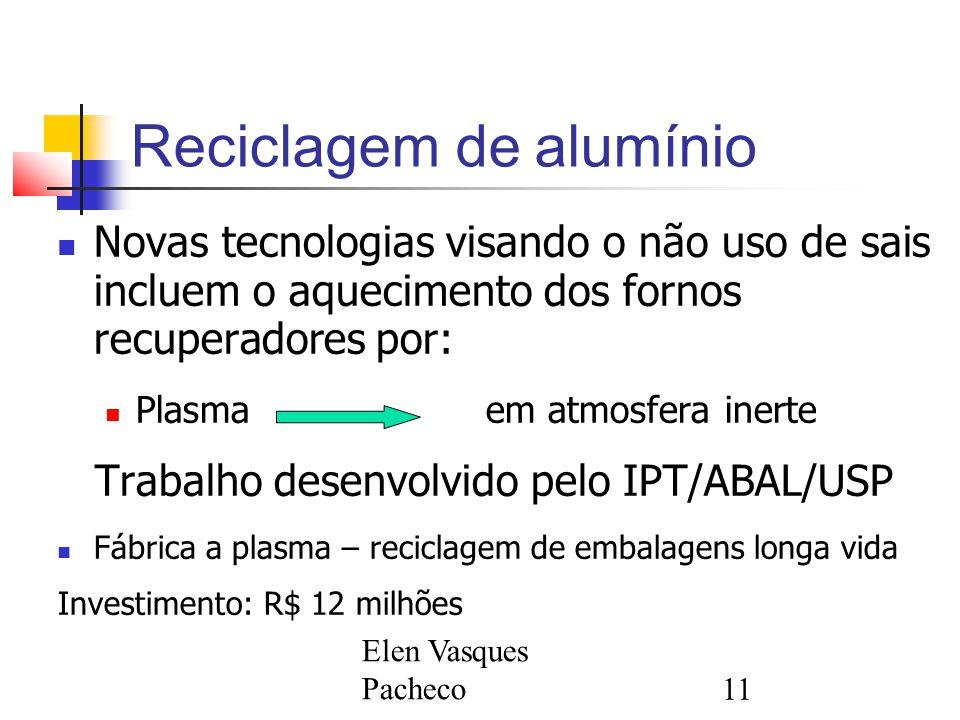 Elen Vasques Pacheco11 Reciclagem de alumínio Novas tecnologias visando o não uso de sais incluem o aquecimento dos fornos recuperadores por: Plasma em atmosfera inerte Trabalho desenvolvido pelo IPT/ABAL/USP Fábrica a plasma – reciclagem de embalagens longa vida Investimento: R$ 12 milhões