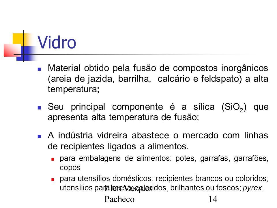Elen Vasques Pacheco14 Vidro Material obtido pela fusão de compostos inorgânicos (areia de jazida, barrilha, calcário e feldspato) a alta temperatura;