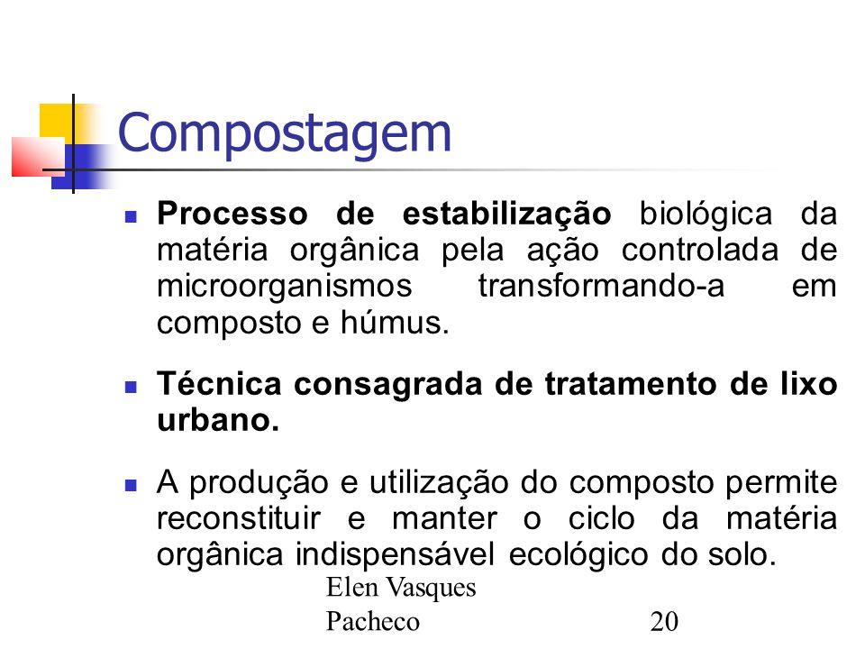 Elen Vasques Pacheco20 Compostagem Processo de estabilização biológica da matéria orgânica pela ação controlada de microorganismos transformando-a em