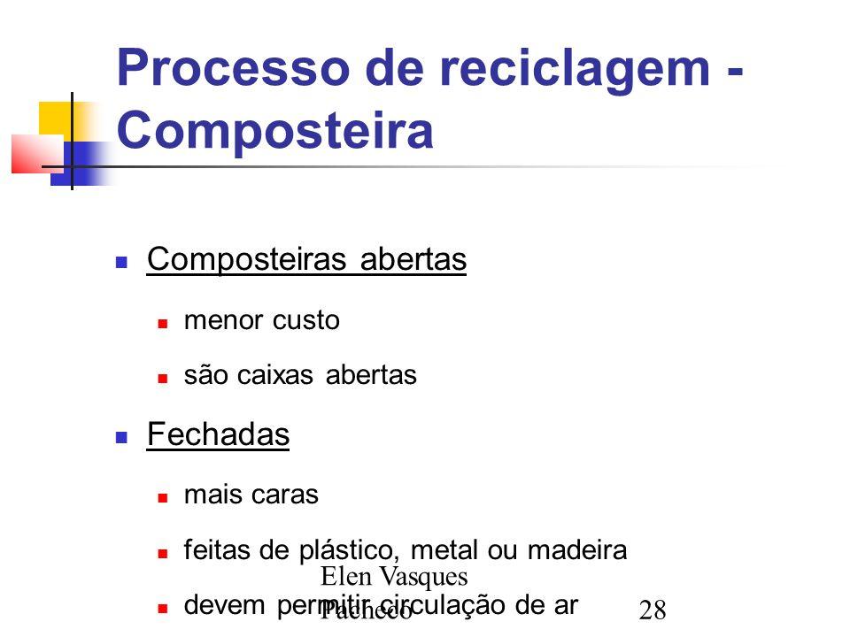 Elen Vasques Pacheco28 Processo de reciclagem - Composteira Composteiras abertas menor custo são caixas abertas Fechadas mais caras feitas de plástico, metal ou madeira devem permitir circulação de ar