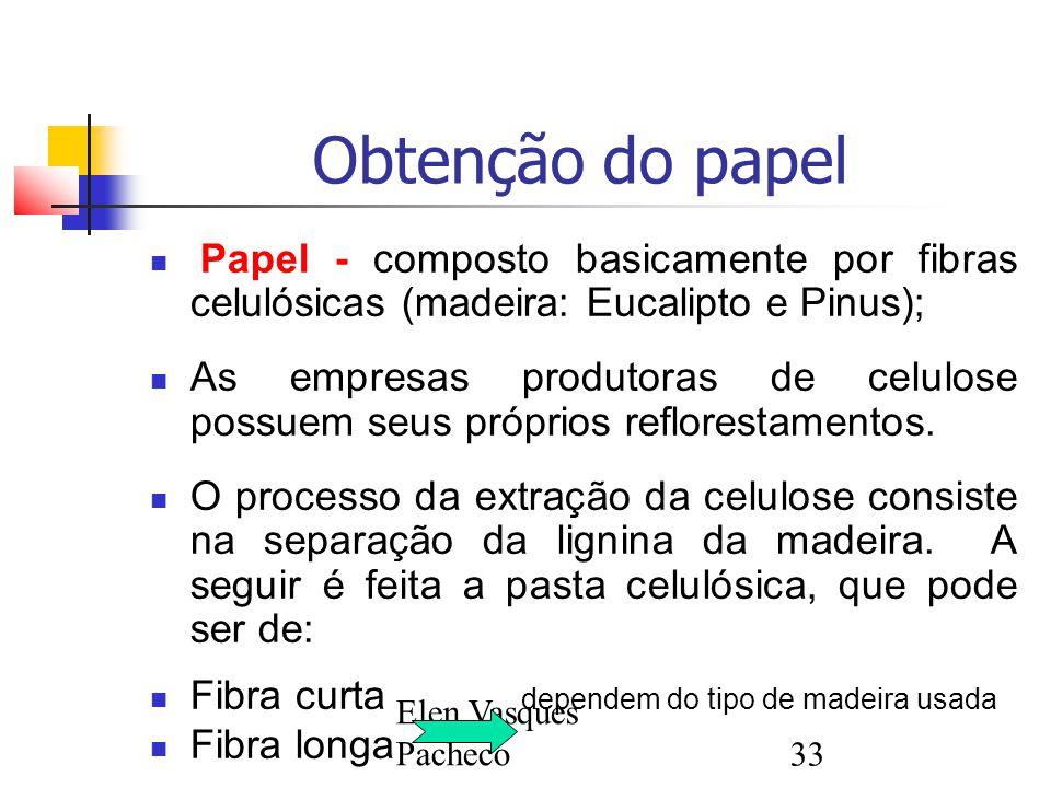 Elen Vasques Pacheco33 Obtenção do papel Papel - composto basicamente por fibras celulósicas (madeira: Eucalipto e Pinus); As empresas produtoras de celulose possuem seus próprios reflorestamentos.