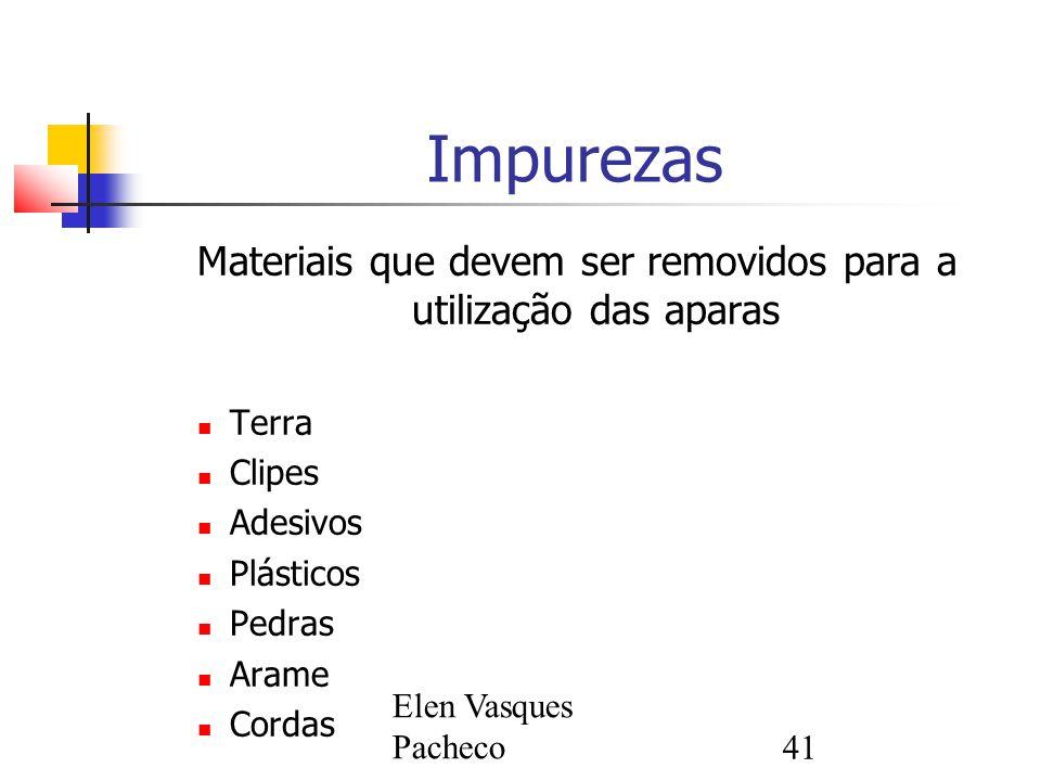 Elen Vasques Pacheco41 Impurezas Materiais que devem ser removidos para a utilização das aparas Terra Clipes Adesivos Plásticos Pedras Arame Cordas