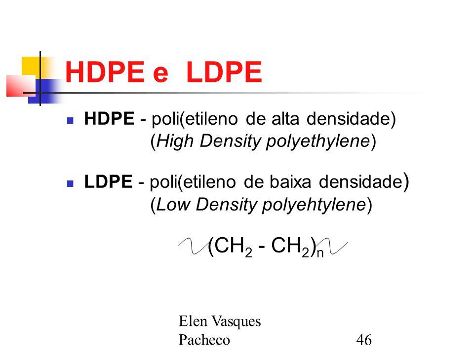 Elen Vasques Pacheco46 HDPE e LDPE HDPE - poli(etileno de alta densidade) (High Density polyethylene) LDPE - poli(etileno de baixa densidade ) (Low Density polyehtylene) (CH 2 - CH 2 ) n