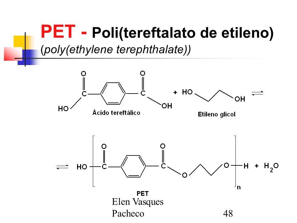 Elen Vasques Pacheco48 PET - Poli(tereftalato de etileno) (poly(ethylene terephthalate))