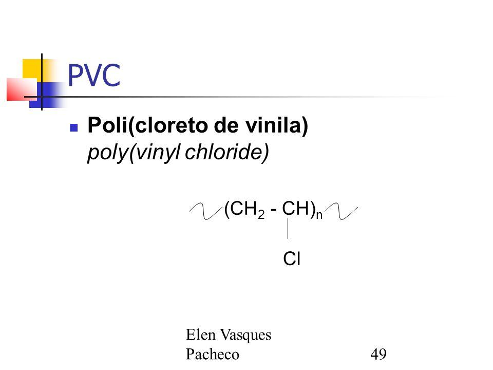 Elen Vasques Pacheco49 PVC Poli(cloreto de vinila) poly(vinyl chloride) (CH 2 - CH) n Cl