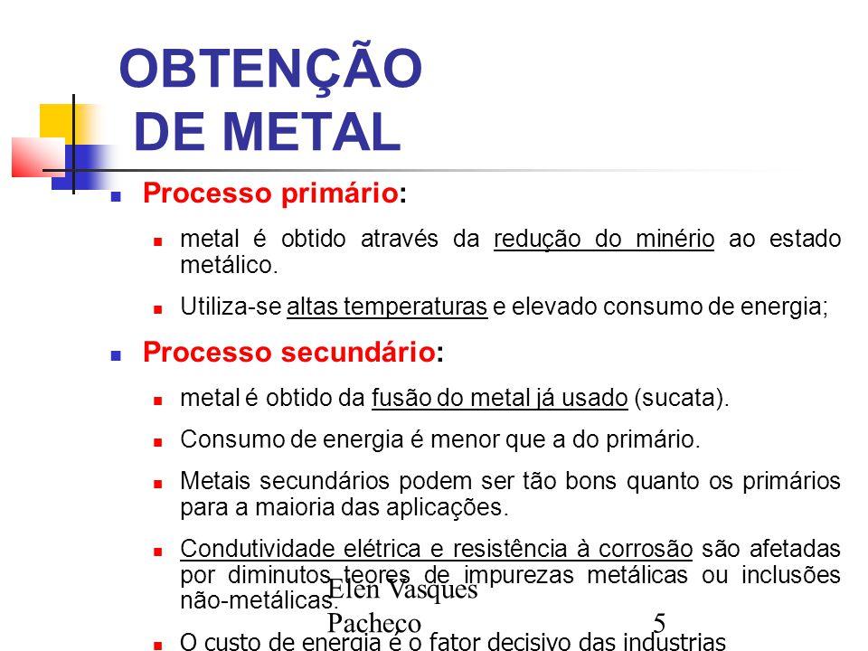 Elen Vasques Pacheco5 OBTENÇÃO DE METAL Processo primário: metal é obtido através da redução do minério ao estado metálico. Utiliza-se altas temperatu