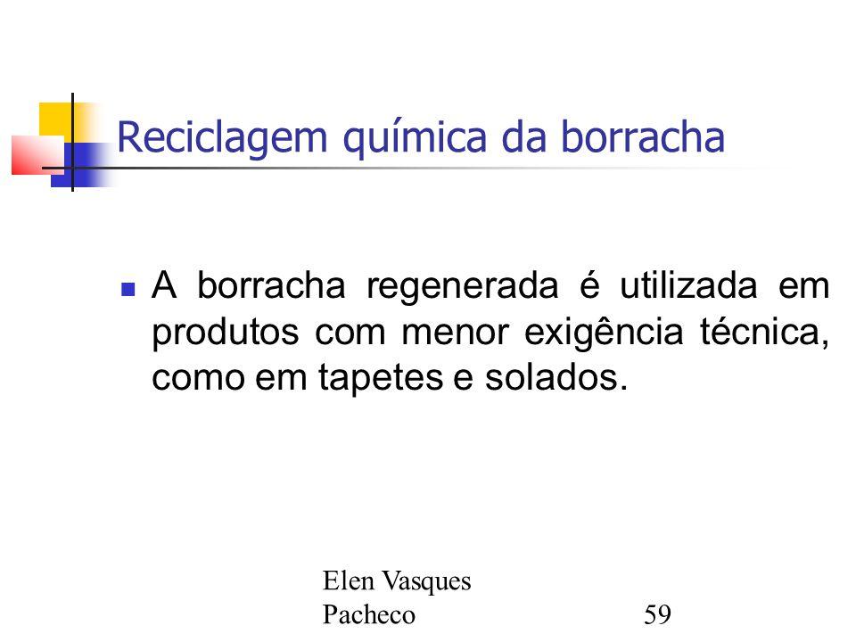 Elen Vasques Pacheco59 Reciclagem química da borracha A borracha regenerada é utilizada em produtos com menor exigência técnica, como em tapetes e solados.