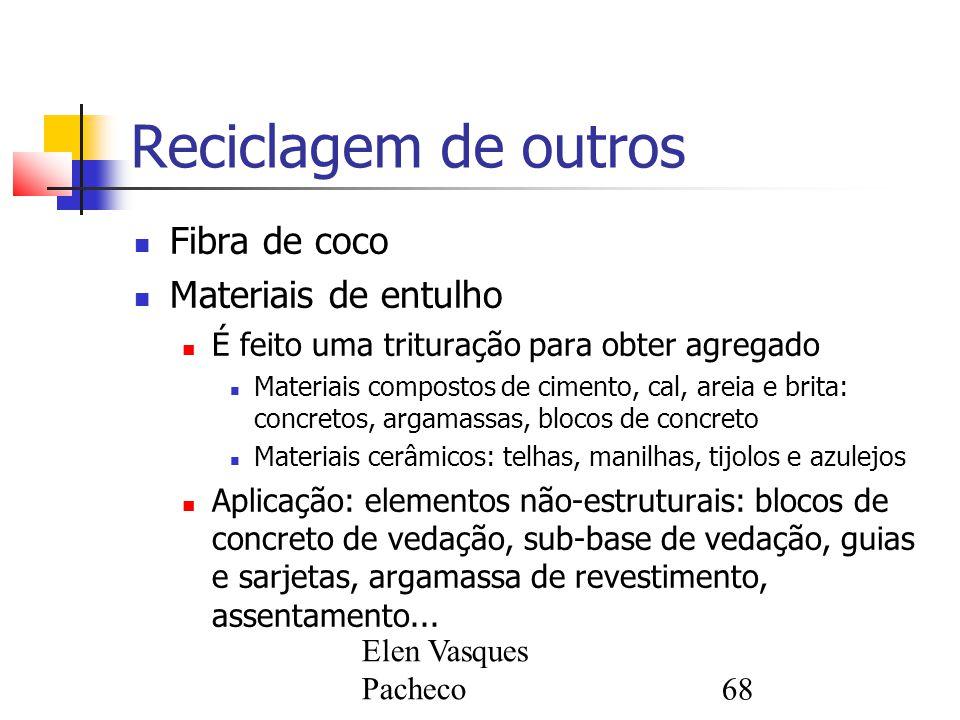 Elen Vasques Pacheco68 Reciclagem de outros Fibra de coco Materiais de entulho É feito uma trituração para obter agregado Materiais compostos de cimen