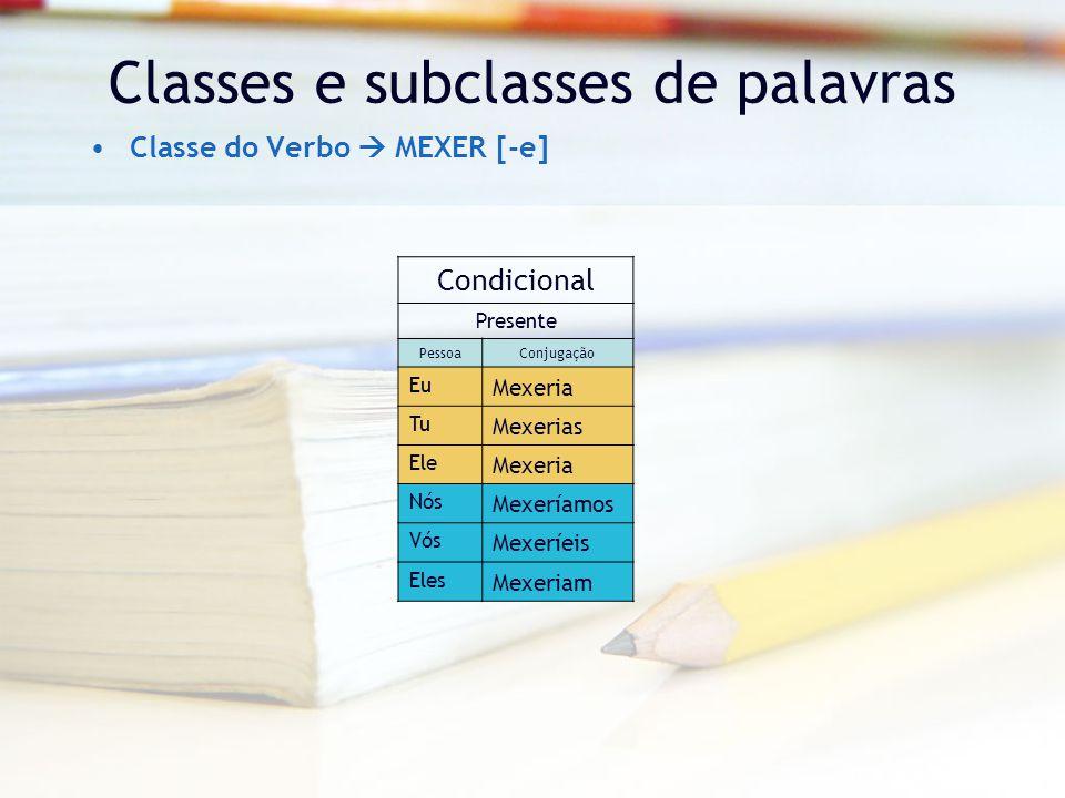 Classes e subclasses de palavras Classe do Verbo  MEXER [-e] Condicional Presente PessoaConjugação Eu Mexeria Tu Mexerias Ele Mexeria Nós Mexeríamos Vós Mexeríeis Eles Mexeriam