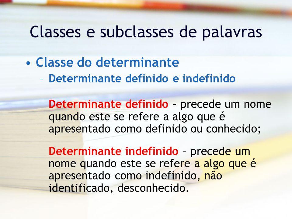 Classes e subclasses de palavras Classe do determinante –Determinante definido e indefinido Determinante definido – precede um nome quando este se refere a algo que é apresentado como definido ou conhecido; Determinante indefinido – precede um nome quando este se refere a algo que é apresentado como indefinido, não identificado, desconhecido.