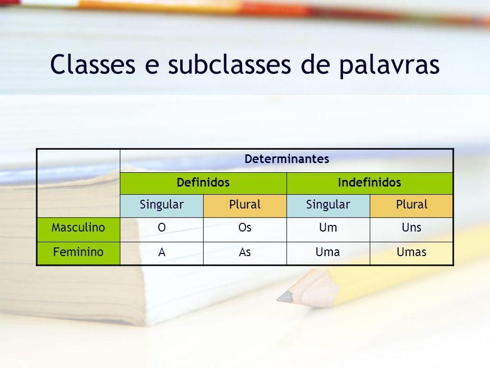 Classes e subclasses de palavras Determinantes DefinidosIndefinidos SingularPluralSingularPlural MasculinoOOsUmUns FemininoAAsUmaUmas