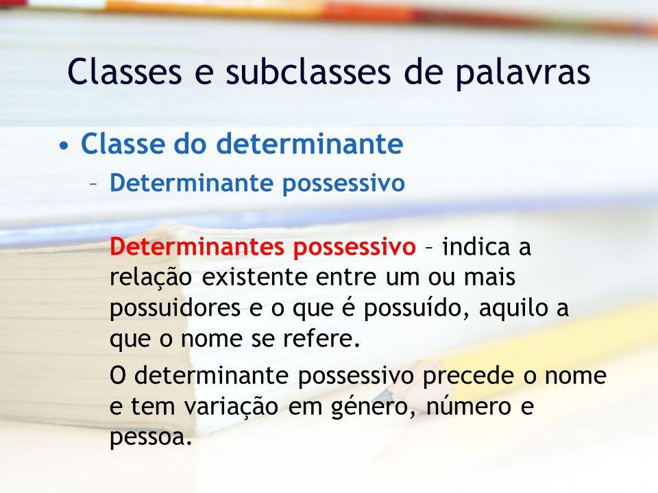 Classes e subclasses de palavras Classe do determinante –Determinante possessivo Determinantes possessivo – indica a relação existente entre um ou mais possuidores e o que é possuído, aquilo a que o nome se refere.