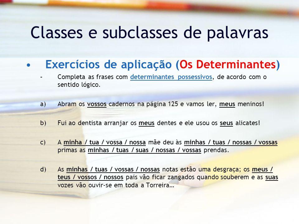 Classes e subclasses de palavras Exercícios de aplicação (Os Determinantes) –Completa as frases com determinantes possessivos, de acordo com o sentido lógico.