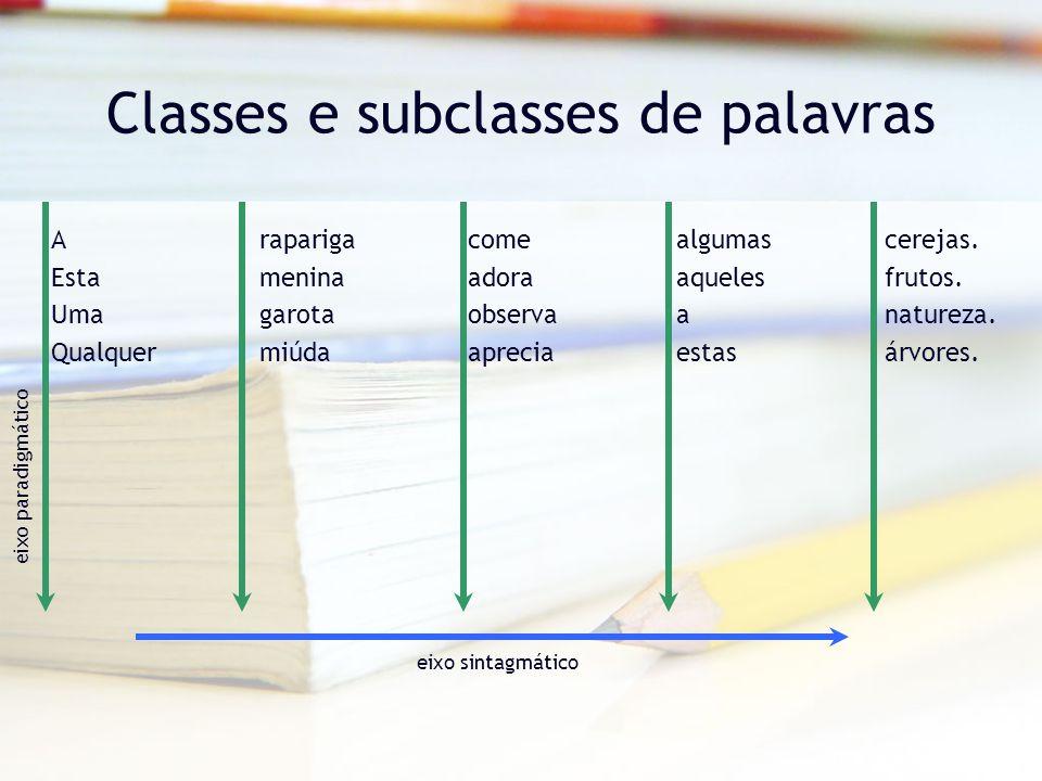 Classes e subclasses de palavras O Determinante –Classe fechada de palavras que acompanham um nome, precedendo-o na frase e com o qual concordam em género e em número.