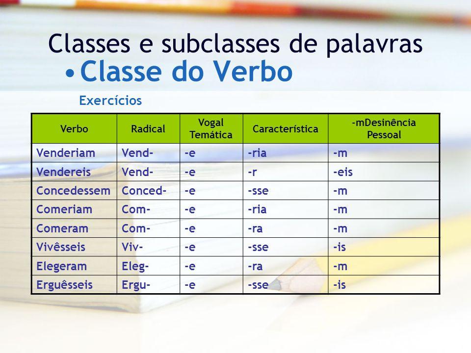 Classes e subclasses de palavras Classe do Verbo VerboRadical Vogal Temática Característica -mDesinência Pessoal VenderiamVend--e-ria-m VendereisVend--e-r-eis ConcedessemConced--e-sse-m ComeriamCom--e-ria-m ComeramCom--e-ra-m VivêsseisViv--e-sse-is ElegeramEleg--e-ra-m ErguêsseisErgu--e-sse-is Exercícios