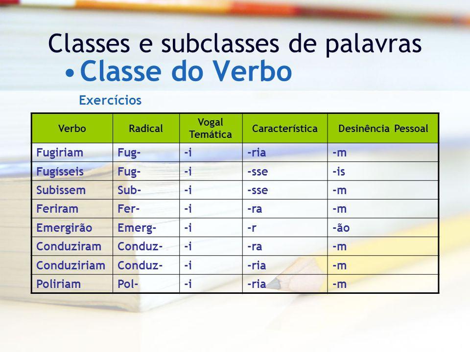Classes e subclasses de palavras Classe do Verbo VerboRadical Vogal Temática CaracterísticaDesinência Pessoal FugiriamFug--i-ria-m FugísseisFug--i-sse-is SubissemSub--i-sse-m FeriramFer--i-ra-m EmergirãoEmerg--i-r-ão ConduziramConduz--i-ra-m ConduziriamConduz--i-ria-m PoliriamPol--i-ria-m Exercícios