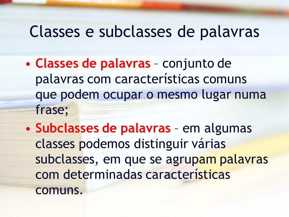 Classes e subclasses de palavras Classes de palavras – conjunto de palavras com características comuns que podem ocupar o mesmo lugar numa frase; Subclasses de palavras – em algumas classes podemos distinguir várias subclasses, em que se agrupam palavras com determinadas características comuns.