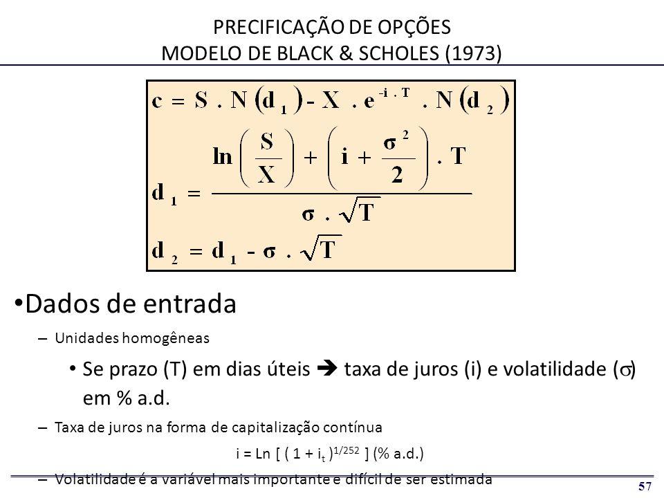58 PRECIFICAÇÃO DE OPÇÕES EXTENSÕES DE BLACK & SCHOLES OPÇÕES DE CÂMBIO: GARMAN-KOHLHAGEN (1983) OPÇÕES SOBRE FUTUROS: MODELO DE BLACK (1976)