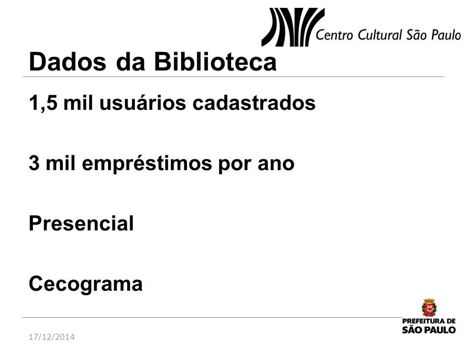 Dados da Biblioteca 1,5 mil usuários cadastrados 3 mil empréstimos por ano Presencial Cecograma 17/12/2014