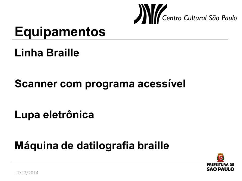 Equipamentos Linha Braille Scanner com programa acessível Lupa eletrônica Máquina de datilografia braille 17/12/2014