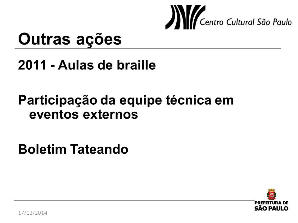 Outras ações 2011 - Aulas de braille Participação da equipe técnica em eventos externos Boletim Tateando 17/12/2014
