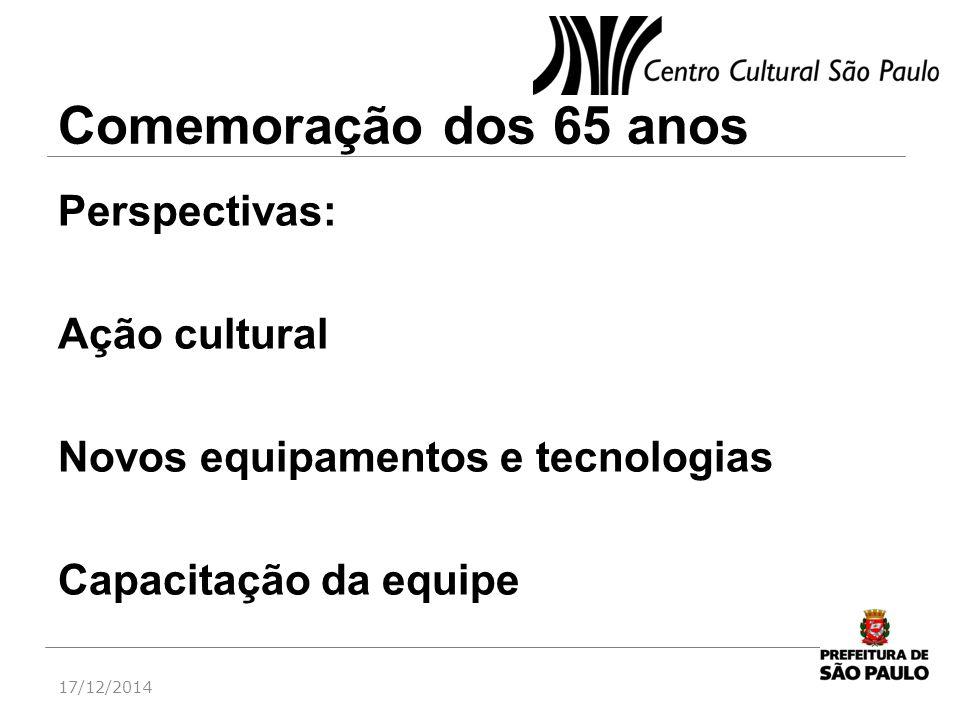 Comemoração dos 65 anos Perspectivas: Ação cultural Novos equipamentos e tecnologias Capacitação da equipe 17/12/2014