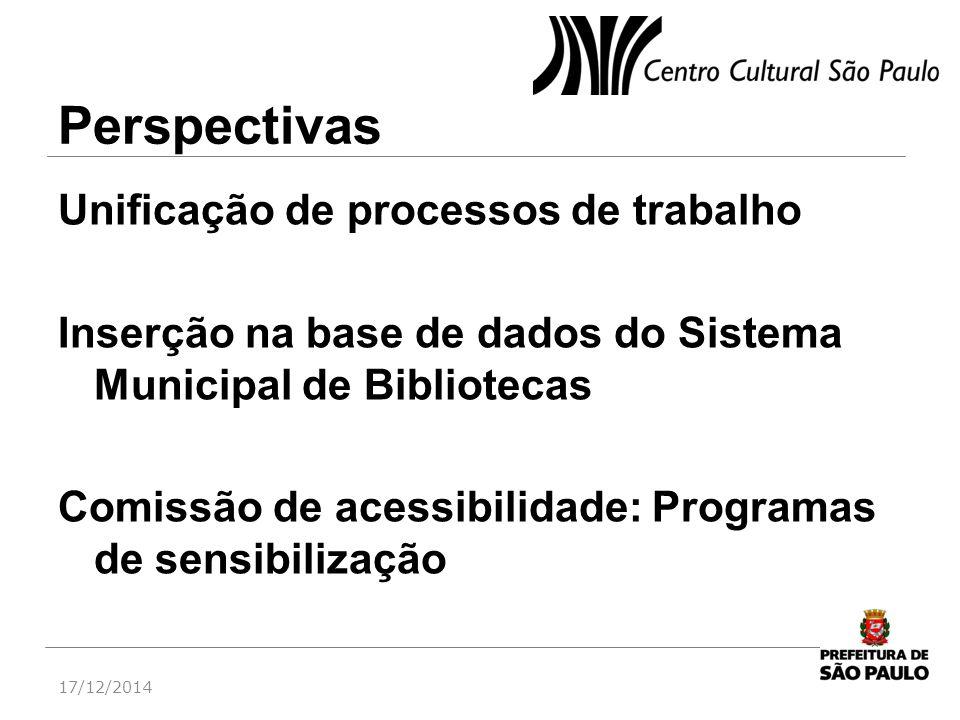 Perspectivas Unificação de processos de trabalho Inserção na base de dados do Sistema Municipal de Bibliotecas Comissão de acessibilidade: Programas d
