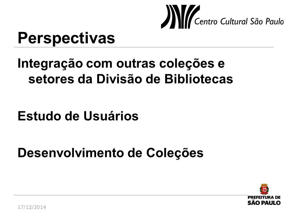 Perspectivas Integração com outras coleções e setores da Divisão de Bibliotecas Estudo de Usuários Desenvolvimento de Coleções 17/12/2014