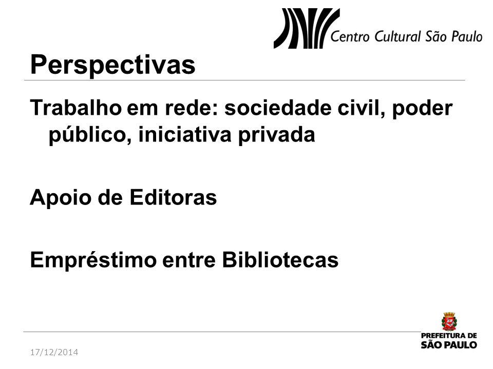 Perspectivas Trabalho em rede: sociedade civil, poder público, iniciativa privada Apoio de Editoras Empréstimo entre Bibliotecas 17/12/2014