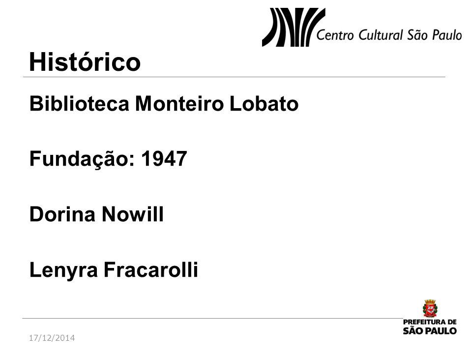 Biblioteca Monteiro Lobato Fundação: 1947 Dorina Nowill Lenyra Fracarolli 17/12/2014 Histórico